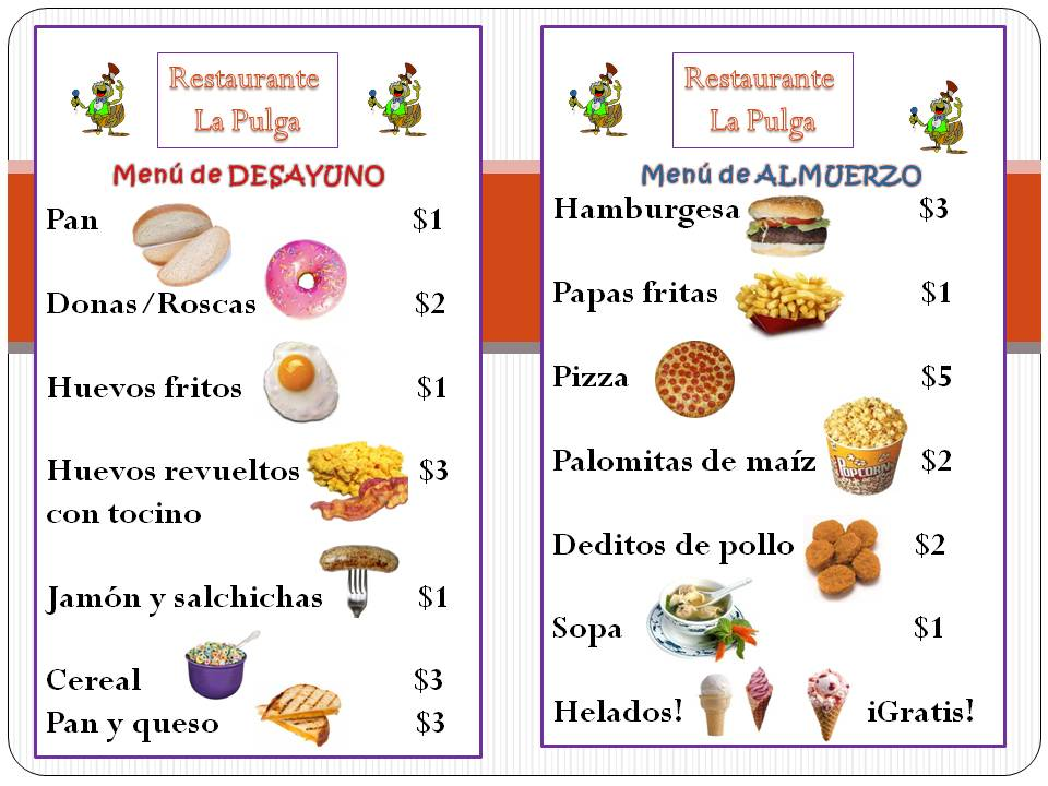 Menu de restaurante land of lingtechguistics for Menu comida